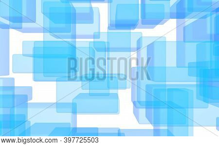 Blue And White Abstract Digital And Technology Background. The Pattern With Repeating Rectangles. 3d