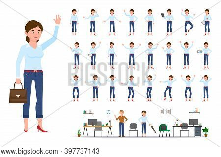 Adult Office Cartoon Character Woman In Casual Clothes Waving Hand Up Flat Style Design Vector Illus