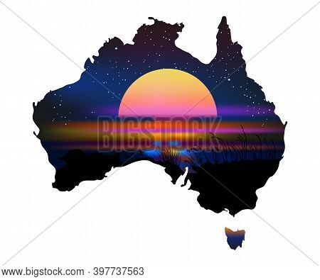 Australia Aboriginal Continent With Sunset Isolated On White Background. Australia Map In Traditiona