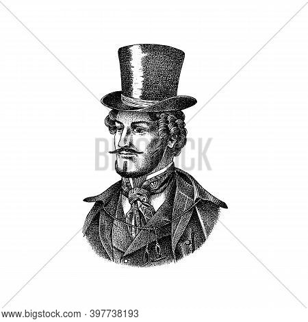 Victorian Gentleman With Hat And Mustache. Man In Vintage Retro Style. Vector Illustration. Antique