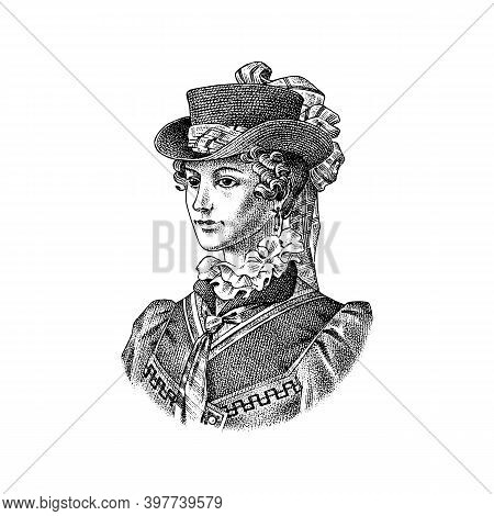 Victorian Woman In A Hat And Dress. Elegant Lady In Vintage Retro Style. Vector Illustration. Hand D