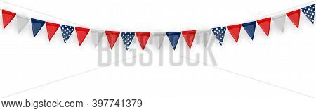 Banner With Garland Of Flags And Ribbons. Holiday Party Background For Birthday Party, Carnaval Isol