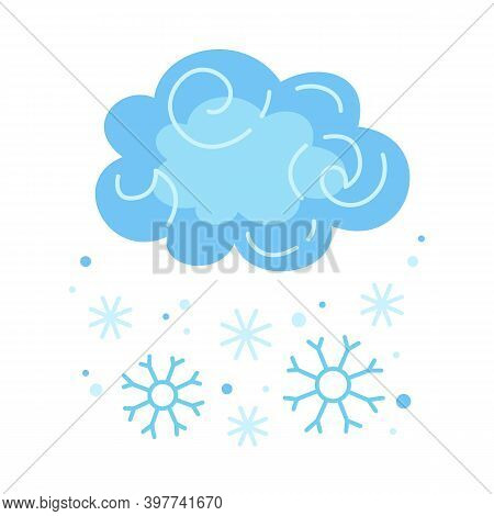 Winter Cloud Snow Snowflake Cartoon Style Blizzard