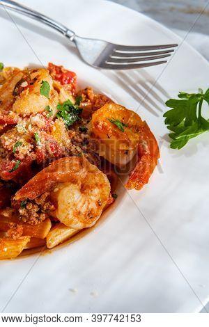 Authentic Italian Dinner Penne Ragu Alla Bolognese With Tail-on Shrimp