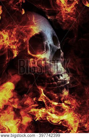 Scary Demon Halloween Skeleton Skull Burning In Fire