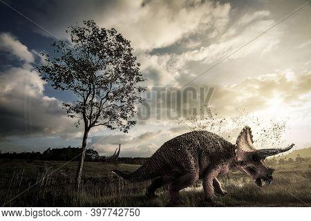 Triceratops  Dinosaur  Living In Late Jurassic .  Triceratops  Dinosaur  Living In Late Jurassic .