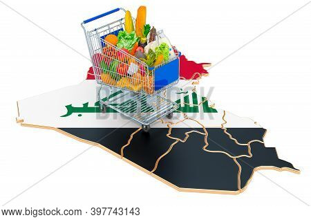 Purchasing Power In Iraq Concept. Shopping Cart With Iraqi Map, 3d Rendering Isolated On White Backg
