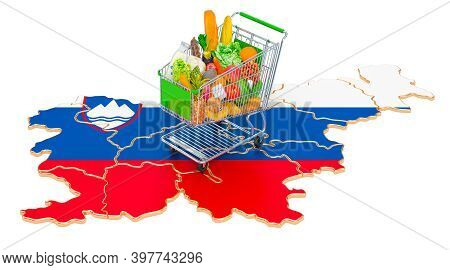 Purchasing Power In Slovenia Concept. Shopping Cart With Slovenian Map, 3d Rendering Isolated On Whi
