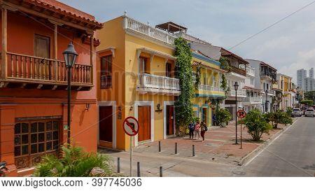 Cartagena Columbia - November 5, 2019: A Typical Street In The Modern Portion Of  Cartagena, Columbi