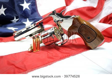 Revolver on American Flag