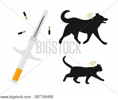Pets Microchipping Concept. Syringe With Microchips, Dog And Cat Silhouettes With Implants And Rfid