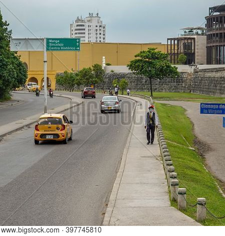 Cartagena, Columbia - November 5, 2019: A Typical Street Right Outside  Old Town Cartagena, Colombia