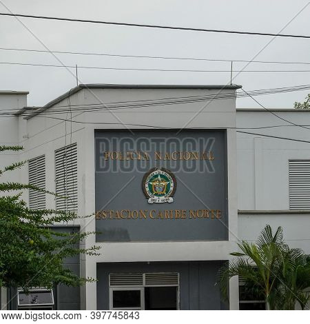 Cartagena, Columbia - November 5, 2019: The Exterior Sign At The National Police North Caribbean Sta