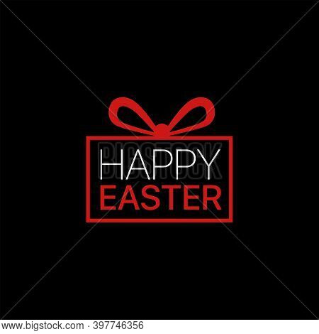 Vector Line Style Logo With Gift Box And Text Happy Easter On It. Easy To Use Business Template. Cut