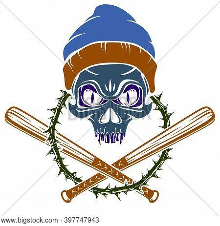 Gangster Emblem Logo Or Tattoo With Aggressive Skull Baseball Bats Design Elements, Vector, Criminal