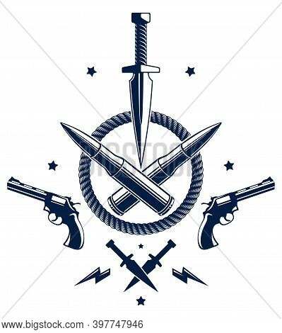 Revolution And War Vector Emblem With Dagger Knife And Other Weapons , Tattoo With Lots Of Design El