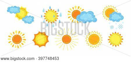 Sun Cartoon Set Forecast Weather Hand Drawn Vector