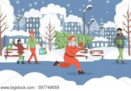 Santa Claus Running With Christmas Tree, People In Warm Clothes Walking In Winter City Park, Carryin