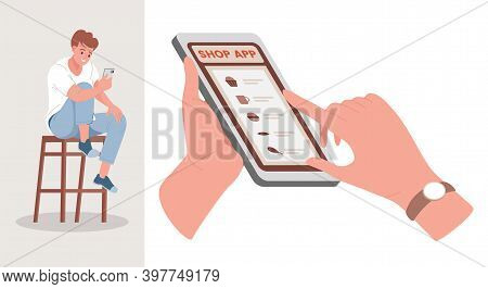 Shopping App Vector Flat Illustration. Smiling Man Sitting At The Chair With Smartphone, Looking At