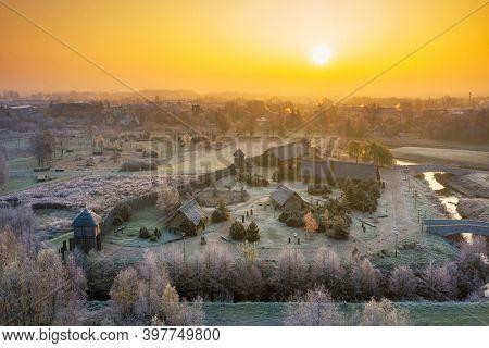 Beautiful sunrise over the frosty amber trade settlement in Pruszcz Gdanski, Poland.