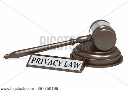 Judge Gavel And Privacy Law Banner, 3d Rendering
