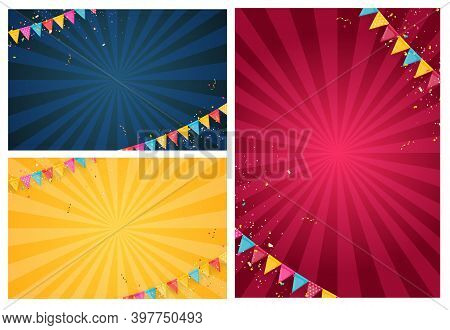 Banner With Garland Of Flags And Ribbons Collection Set. Holiday Party Background For Birthday Party