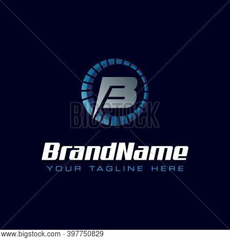 Letter B Spedometer Logo. Tachometer Speed Logo