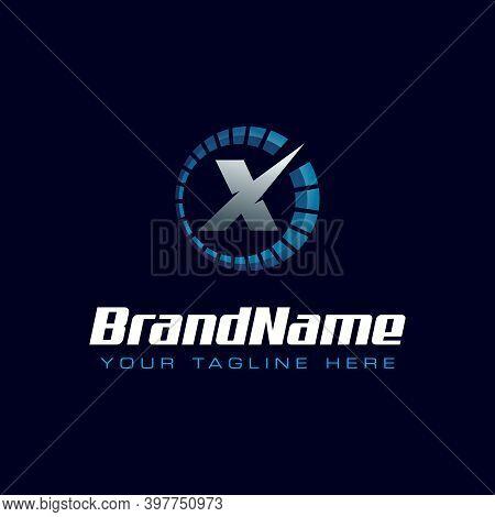 Letter X Spedometer Logo. Tachometer Speed Logo