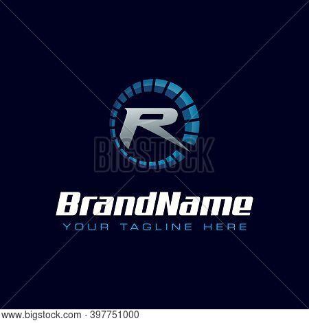 Letter R Spedometer Logo. Tachometer Speed Logo