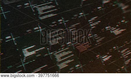 Abstract Computer Script Source Code With Glitch Effect. Animation. Screen Of Web Developing Hacker