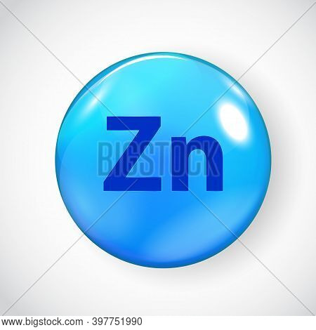 Mineral Zn Zink Blue Shiny Pill Capsule Icon.  Illustration