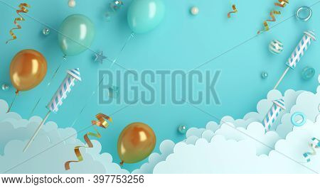 Happy New Year 2021 Background Concept With Firework Rocket, Balloon, Ribbon, Cloud, 3d Rendering Il
