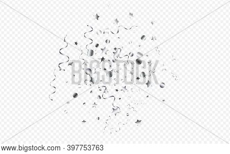 Silver Confetti Flying Vector Transparent Background. Celebration Streamer Illustration. Spiral Cele