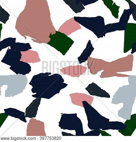 Blue And Green Terrazzo Wall Vector Seamless Pattern. Repeat Terrazzo Tile Backdrop. Indigo And Gray