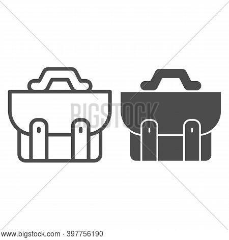 Briefcase Line And Solid Icon, School Concept, School Bag Sign On White Background, Diplomat For Doc