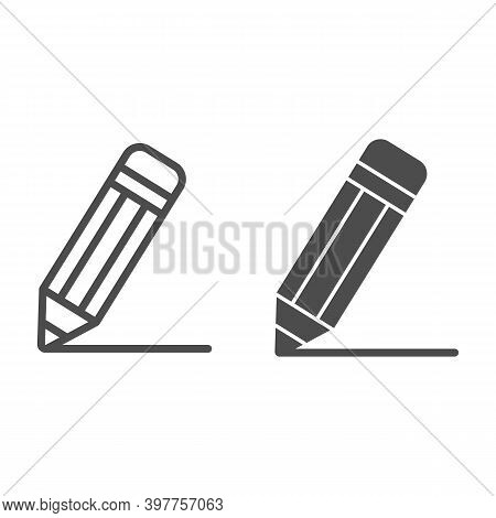 Pencil Line And Solid Icon, School Concept, Pencil Drawing Line Sign On White Background, Pencil Wit