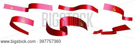 Set Of Holiday Ribbons. Soviet Union Flag, Ussr Waving In Wind. Separation Into Lower And Upper Laye