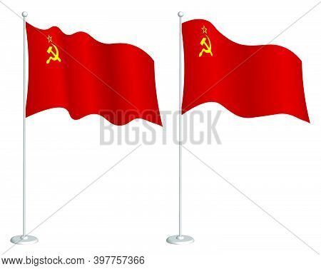 Soviet Union Flag, Ussr On Flagpole Waving In Wind. Holiday Design Element. Checkpoint For Map Symbo