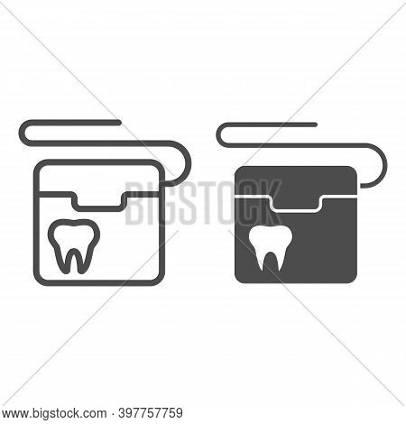 Dental Floss Line And Solid Icon, International Dentist Day Concept, Floss To Clean Teeth Sign On Wh