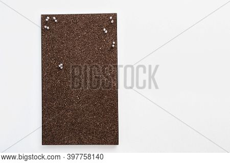 Memo Board From Dark Brown Cork Material With Transperent Pins For Stickers. Textured Wooden Cork Cl