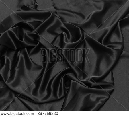 Black Silk Fabric Background Silky Textured Cloth