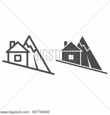 Mountain Descent Line And Solid Icon, World Snowboard Day Concept, Ski Tracks Sign On White Backgrou