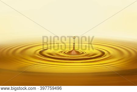 Golden Oil Drop With Ripples Vegetable, Organic, Olive, Sunflower Oil, Pure, Wellness, And Beauty Pr