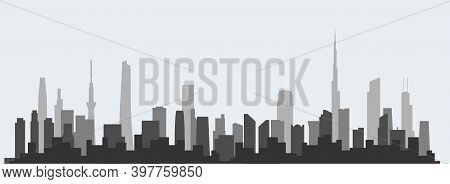 Abstract Futuristic City Sky With Modern Buildings Vector Wallpaper Background. Vector Illustration