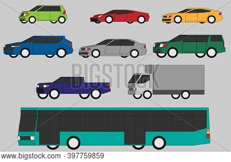 Collection Of Vehicle Side View Simplicity Flat Design. Vector Illustration.