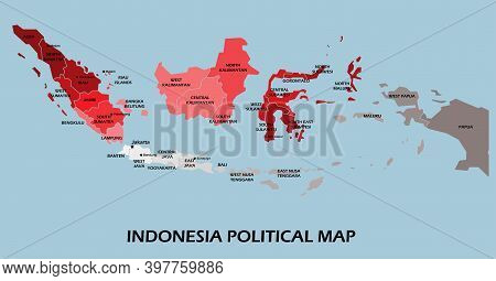 Indonesia Political Map Divide By State Colorful Outline Simplicity Style. Vector Illustration.