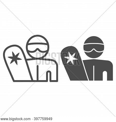 Snowboarder With Snowboard Line And Solid Icon, Winter Sports Concept, Man With Snowboard Sign On Wh