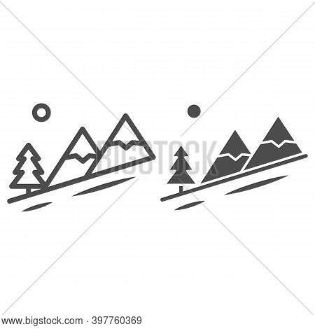 Winter Mountain Landscape Line And Solid Icon, World Snowboard Day Concept, Descent From The Mountai