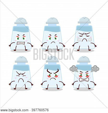 Salt Shaker Cartoon Character With Various Angry Expressions