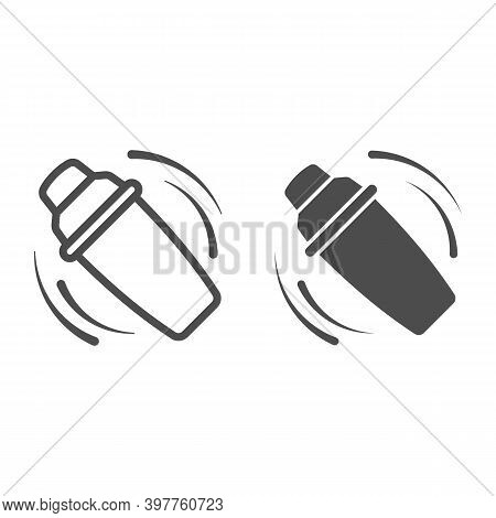 Shaking The Shaker Line And Solid Icon, Bartenders Day Concept, Bar Shaker Sign On White Background,